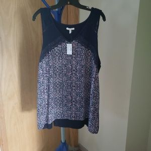 Maurices women's floral print tank NWT, crochet